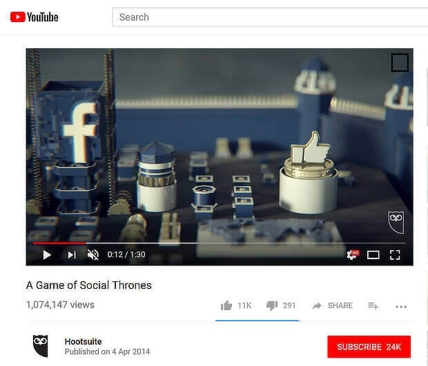 Hootsuite A Game of Social Thrones video