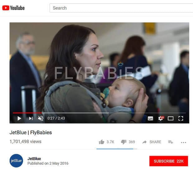 JetBlue Flybabies youtube video