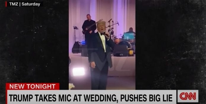 Trump takes mic at a wedding and pushes 2020 election lies