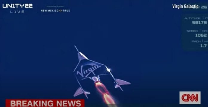 See moment Richard Branson rockets into space