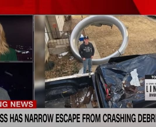 Witness describes narrow escape from falling plane debris