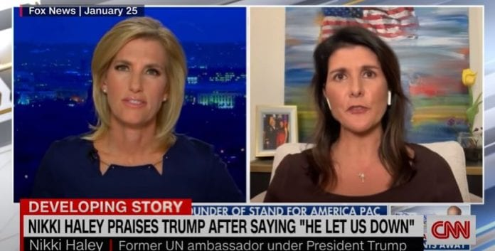 Haley flip flops on Trump, praising his 'strong speech'