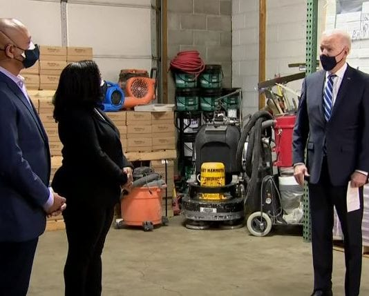 President Biden visits a small business in Chester Pennsylvania
