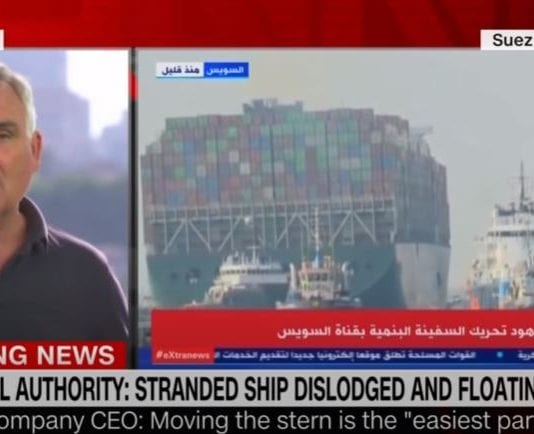 See video of dislodged ship floating on Suez Canal
