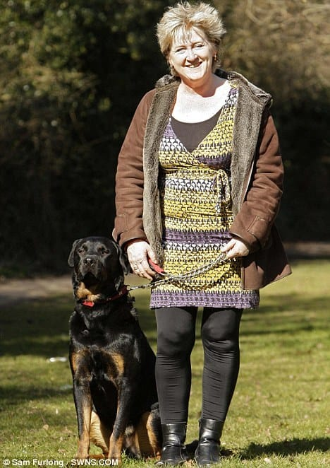 Standing tall: Jake with his owner Liz Maxted-Bluck. He chased off sex attacker Esmahil Adhami